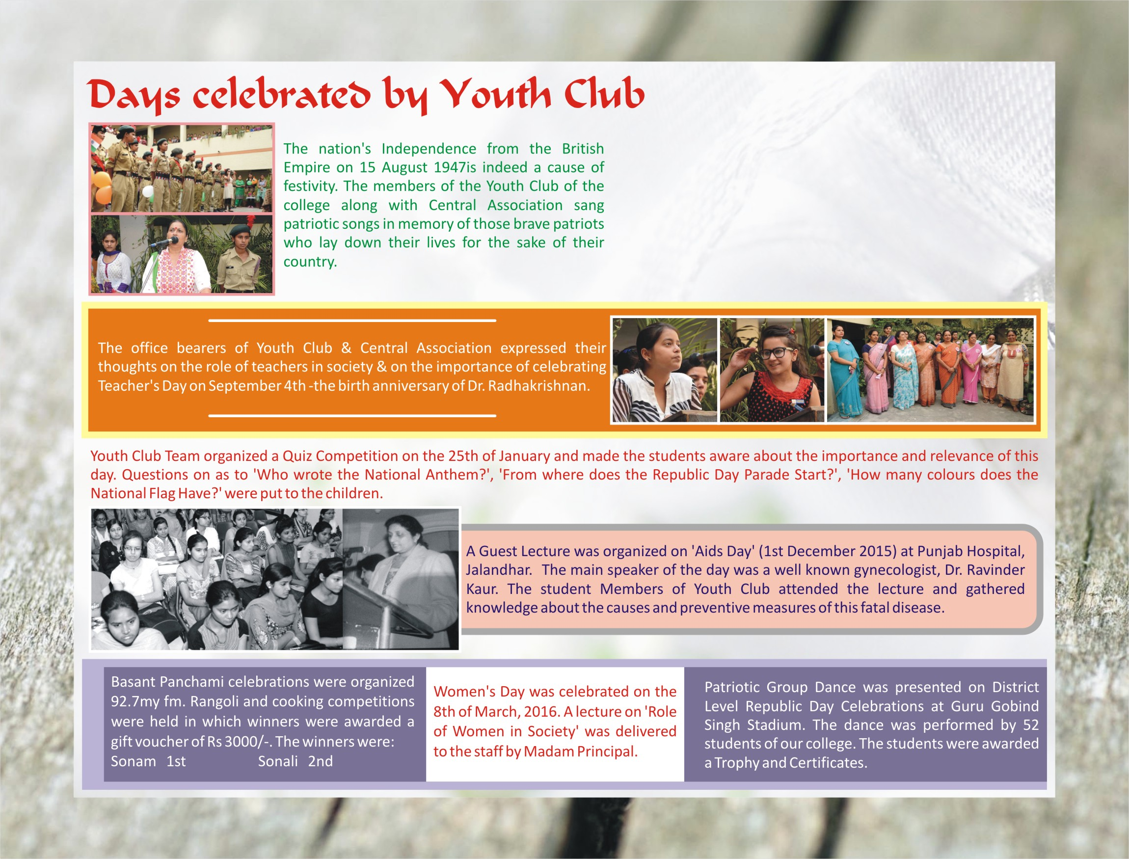 Days Celebrated by Youth Club