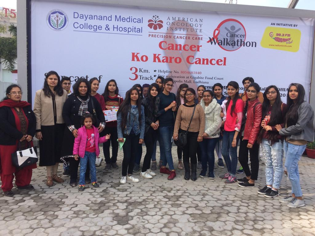 Students participate in 'Cancer Walk –A-Thon' at Ludhiana